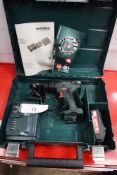 1 x Metabo 18V cordless drill, model SB18 + SC60 Plus, with 1 x 18V 2.0Ah battery, charger, manual