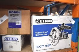 "2 x Kobe 6½"" circular saws, model ESC12-165E, 110V, 1 x Kobe 100mm disc grinder, model EGA110,"