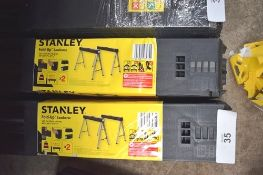 3 x sets of Stanley fold up saw horses, size 101.7 x 75.8 x 12.5cm, 1 x Stanley drywall metal