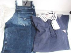 1 x pair of Guess Angelo low rise jeans size 30 x 34, 1 x Guess long sleeve polo, size XL and 2 x