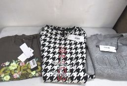 3 x items of Guess ladies clothing comprising 1 x t-shirt, size S, 1 x mini dress, logo'd, size 12