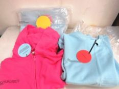 3 x items of Pangaia clothing comprising 2 x zip hoodies, size S and 1 x blue cropped sweat, size