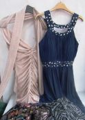 2 x Quiz evening wear frocks, sizes 8 and 18 together with 5 x Quiz glitter tops, assorted sizes -