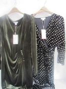 2 x Monsoon evening wear dresses in brushed velvet, size 14 - New with tags (1B)