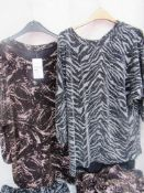 4 x Quiz peep shoulder glitter tops, sizes 8, 14, 16 and 18 together with 2 x Quiz closed shoulder