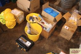 Various workshop equipment to include boxed set of tools, nuts and bolts; cable ties; lifting
