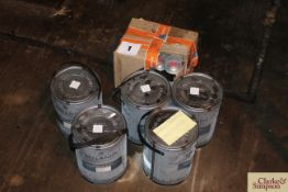 Quantity of Mylands wood and metal paint in container blue; and a quantity of gold paint in spray