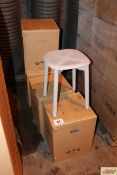 4x Boxed Hay Soft Edge 72 solid oak stool in soft grey.