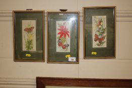 Three Cashe still life embroideries
