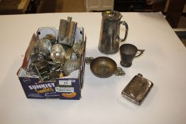 A box of various plated and other metalware items