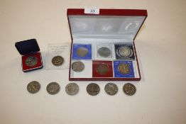 A tray of £5 and other commemorative coins