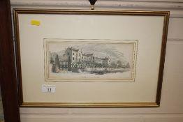 "A coloured print ""New Seckford Hospital at Woodbridge"""