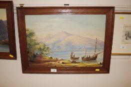 An Italian watercolour depicting fishing boats