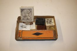 A box containing quill pens, watch, costume jewellery etc.