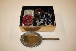 A plated hand mirror; ceramic shoes etc.