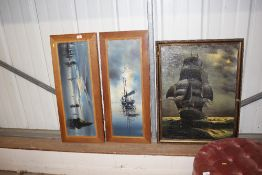 Four various oil paintings of boats
