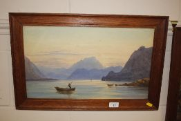 A watercolour study depicting fishing boats in a mountainous landscape