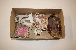 """A Carlton ware """"Rouge Royale"""" dish; crested china items etc"""