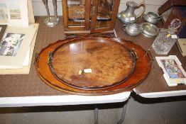 Two mahogany twin handled drinks trays