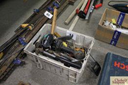 Box of various hand tools.