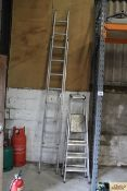 Aluminium ladder and two step ladders.
