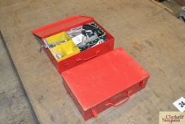 2x Kennedy tool boxes. One contains fittings and some hand tools, another empty.