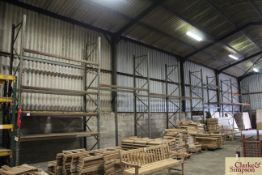 c.22m of pallet racking. Comprising 9x uprights and 20x shelves (some with chipboard). To be sold in