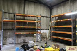 Quantity of pallet racking. Comprising 5x uprights, 9x 3.2m shelves (some with chipboard). To be