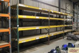 c.8.5m of pallet racking. Comprising of 4x uprights and 12x shelves (some with chipboard). To be