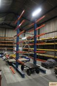 Double sided cantilever rack. With 12x 1T shelves. To be sold in situ and removed at purchaser's