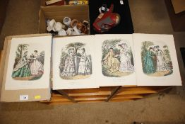 A tray of Victorian style costume prints