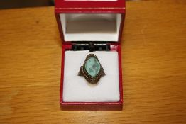 A Malachite style dress ring