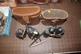 A pair of Wray of binoculars, and one other pair cased AF