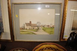 B C Lillie, watercolour of a village green with co