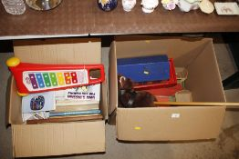 Two boxes of miscellaneous children's toys includi