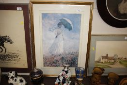 After Claude Monet, coloured print of a lady with