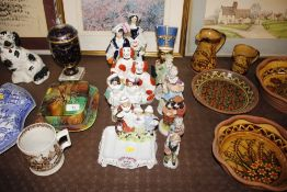 "Various Staffordshire figure groups; a Yardley ""En"