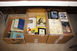 Three boxes of mostly paperback books