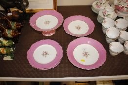 A Victorian pink and gilt decorated part dessert s
