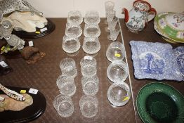 A set of six cut glass brandy balloons; six sprit