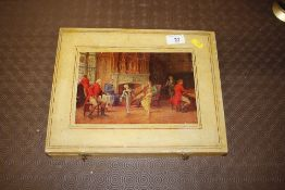 A lacquered box inset with a coloured print