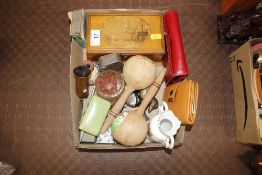 A box containing a Mauchline box and other various