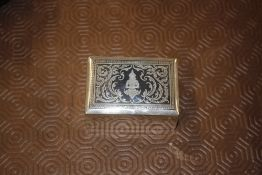 A Thai 925 marked Niello marked ring box with felt