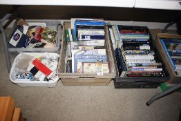 Three boxes of various hardback books and two boxe