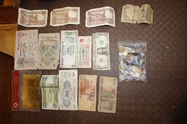 A collection of coinage and bank notes