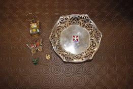 A white metal Maltese bowl; butterfly brooch; a Vi