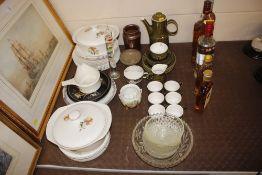 A Celtic pottery coffee set; various decorative pl