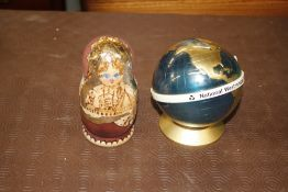 A set of Russian birch bark nesting dolls; and a 1