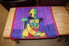 A textile panel depicting a Picasso portrait, 86cm
