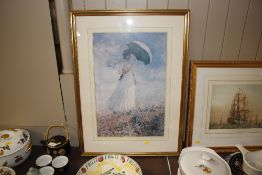 """A coloured print after Monet """"Lady with Umbrella"""""""